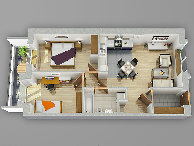 Small Flat Plan archviz: small flat perspective plan | foundry community